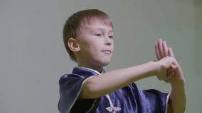 Έφηβος αγοριών που παρουσιάζει παραδοσιακό χαιρετισμό στο wushu με το κράτημα των πολεμικών τεχνών πυγμών φιλμ μικρού μήκους