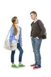 Έφηβος και κορίτσι που απομονώνονται στο λευκό στοκ εικόνες