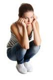 έφηβος κοριτσιών κατάθλιψης Στοκ εικόνα με δικαίωμα ελεύθερης χρήσης
