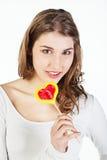 έφηβος κοριτσιών lollipop Στοκ εικόνες με δικαίωμα ελεύθερης χρήσης