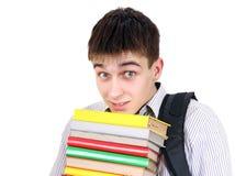 Έφηβος με τα βιβλία Στοκ Εικόνα