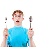 Έφηβος με τα μαχαιροπήρουνα Στοκ φωτογραφία με δικαίωμα ελεύθερης χρήσης