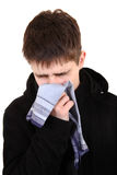 Έφηβος με τη γρίπη Στοκ φωτογραφία με δικαίωμα ελεύθερης χρήσης
