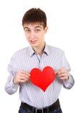 Έφηβος με τη μορφή καρδιών Στοκ εικόνες με δικαίωμα ελεύθερης χρήσης
