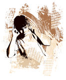 Έφηβος με το ακουστικό σε μια ανασκόπηση grunge Στοκ Εικόνα