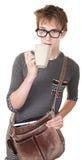 έφηβος ποτών καφέ Στοκ Εικόνα