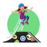 Έφηβος που κάνει το άλμα ακροβατικής επίδειξης από την κεκλιμένη ράμπα skateboard ελεύθερη απεικόνιση δικαιώματος