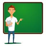 Έφηβος που στέκεται στα πλαίσια του σχολικού πίνακα απεικόνιση αποθεμάτων