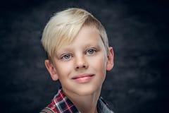 Έφηβος σε ένα πουκάμισο στο γκρίζο υπόβαθρο Στοκ φωτογραφία με δικαίωμα ελεύθερης χρήσης