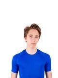 Έφηβος στην μπλε μπλούζα, που απομονώνεται στο άσπρο υπόβαθρο Στοκ Εικόνες
