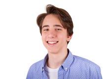 Έφηβος στην μπλε μπλούζα στοκ φωτογραφία