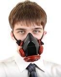 Έφηβος στη μάσκα αερίου στοκ φωτογραφία