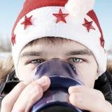 Έφηβος στο καπέλο Santa Στοκ φωτογραφία με δικαίωμα ελεύθερης χρήσης