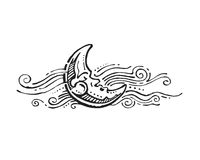 έχετε ι watercolors ύπνου εικόνων φεγγαριών ο ίδιος τα χρωματισμένα Στοκ εικόνα με δικαίωμα ελεύθερης χρήσης