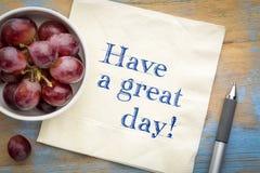 Έχετε μια μεγάλη ημέρα - κείμενο στο napki Στοκ Εικόνες