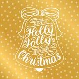 Έχετε τη Χαρούμενα Χριστούγεννα ενός ελαιόπρινου ευχάριστα πολύ Γράφοντας ευχετήρια κάρτα χεριών με το πλαίσιο κάλαντων Χριστουγέ Στοκ εικόνες με δικαίωμα ελεύθερης χρήσης