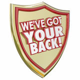 Έχουμε τον πίσω κίνδυνο Preven εγκλήματος ασφάλειας προστασίας ασπίδων σας διανυσματική απεικόνιση