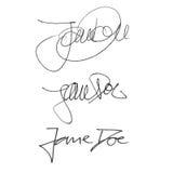 Έλαφος της Jane υπογραφών καλλιγραφίας, χειρόγραφο σύνολο διαφορετικών μορφών και μανδρών Στοκ Φωτογραφίες