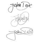 Έλαφος του John υπογραφών καλλιγραφίας, χειρόγραφο σύνολο διαφορετικών μορφών και μανδρών Διανυσματική απεικόνιση