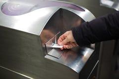 Έλεγχος εισιτηρίων μετρό Στοκ Φωτογραφία
