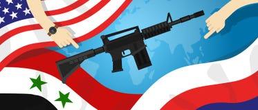 Έλεγχος επιχειρησιακών χεριών χρημάτων παγκόσμιας διεθνής διαφωνίας σύγκρουσης πολεμικών όπλων πληρεξούσιου της Συρίας Αμερική Ρω Στοκ Εικόνες