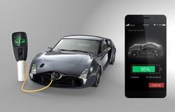 Έλεγχος του ηλεκτρικού χρεώνοντας κράτους αυτοκινήτων με έξυπνο τηλέφωνο app Στοκ Φωτογραφίες
