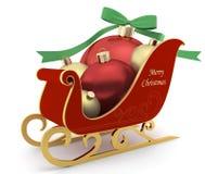 Έλκηθρο με τις σφαίρες Χριστουγέννων στο άσπρο υπόβαθρο Απεικόνιση αποθεμάτων