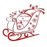 Έλκηθρο Χριστουγέννων με τη σφαίρα Χριστουγέννων - ευχετήρια κάρτα Στοκ Φωτογραφίες