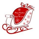 Έλκηθρο Χριστουγέννων με τη σφαίρα Χριστουγέννων - ευχετήρια κάρτα Στοκ Εικόνα