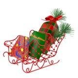 Έλκηθρο Santa με τα δώρα Στοκ εικόνα με δικαίωμα ελεύθερης χρήσης