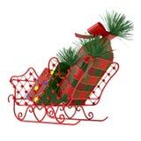 Έλκηθρο Santa με τα δώρα Στοκ Φωτογραφίες