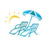 Έδρες και απεικόνιση ομπρελών Στοκ Εικόνα