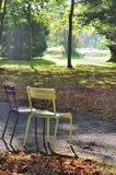 Έδρες σε ένα πάρκο το φθινόπωρο Στοκ Εικόνες