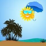 Ήλιος θάλασσας του Palm Beach κάτω από το χαμόγελο ομπρελών απεικόνιση αποθεμάτων