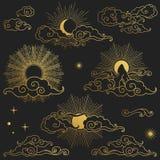 Ήλιος και φεγγάρι στον ουρανό Συλλογή των διακοσμητικών γραφικών στοιχείων σχεδίου στο ασιατικό ύφος Διανυσματική συρμένη χέρι απ Διανυσματική απεικόνιση