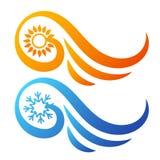 Ήλιος κλιματισμού και snowflake αφηρημένο σύμβολο Στοκ φωτογραφία με δικαίωμα ελεύθερης χρήσης