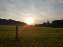 Ήλιος που πεθαίνει στον τομέα στοκ φωτογραφίες