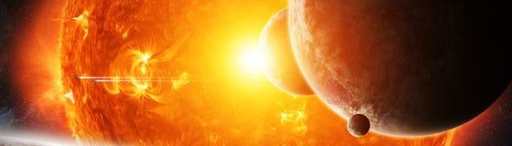 Ήλιος στο διάστημα κοντά στα τρισδιάστατα δίνοντας στοιχεία πλανητών ελεύθερη απεικόνιση δικαιώματος
