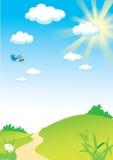 ήλιος τοπίων πουλιών rastr απεικόνιση αποθεμάτων