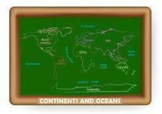 Ήπειροι και ωκεανός που επισύρονται την προσοχή σε έναν πίνακα Στοκ εικόνα με δικαίωμα ελεύθερης χρήσης