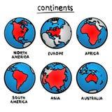 Ήπειροι σχεδίων σκίτσων απεικόνιση αποθεμάτων