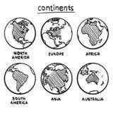 Ήπειροι σχεδίων σκίτσων διανυσματική απεικόνιση