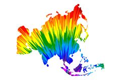 Ήπειρος της Ασίας - ο χάρτης είναι σχεδιασμένο αφηρημένο ζωηρόχρωμο σχέδιο ουράνιων τόξων ελεύθερη απεικόνιση δικαιώματος