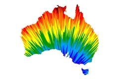 Ήπειρος της Αυστραλίας - ο χάρτης είναι σχεδιασμένο αφηρημένο ζωηρόχρωμο σχέδιο ουράνιων τόξων απεικόνιση αποθεμάτων