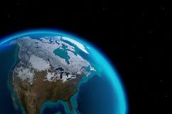 Ήπειρος της Βόρειας Αμερικής από το μακρινό διάστημα Διανυσματική απεικόνιση