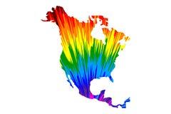 Ήπειρος της Βόρειας Αμερικής - ο χάρτης είναι σχεδιασμένο αφηρημένο ζωηρόχρωμο σχέδιο ουράνιων τόξων διανυσματική απεικόνιση