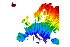Ήπειρος της Ευρώπης - ο χάρτης είναι σχεδιασμένο αφηρημένο ζωηρόχρωμο σχέδιο ουράνιων τόξων διανυσματική απεικόνιση
