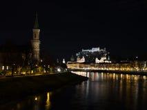 Ήρεμη νύχτα στο Σάλτζμπουργκ, Αυστρία Στοκ εικόνα με δικαίωμα ελεύθερης χρήσης