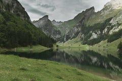 Ήρεμη σκηνή της λίμνης seealpsee που απεικονίζει το βουνό των Άλπεων Στοκ Εικόνες