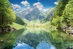 Ήρεμη σκηνή της λίμνης seealpsee που απεικονίζει το βουνό των Άλπεων Στοκ φωτογραφία με δικαίωμα ελεύθερης χρήσης